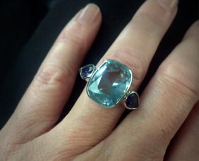 Edith & Kiveen bespoke Aqua & Iolite Ring